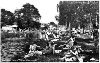 Das dichtbevölkerte Ufer in den 30er Jahren