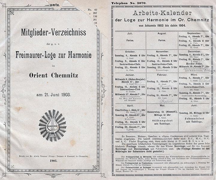 Mitgliederverzeichnis und Arbeitsplan der Loge 1903-1904