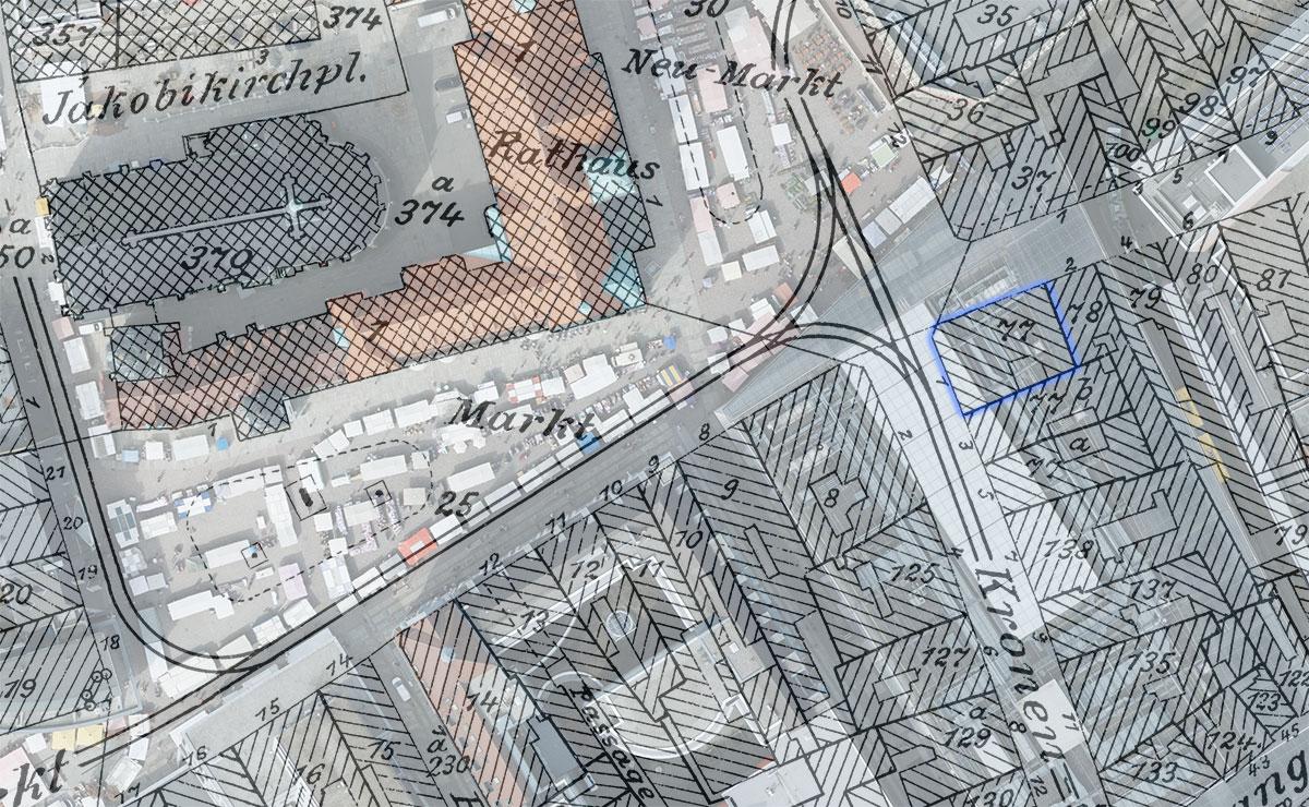 Vergleich Standort Adler-Apotheke 1940 zu heute