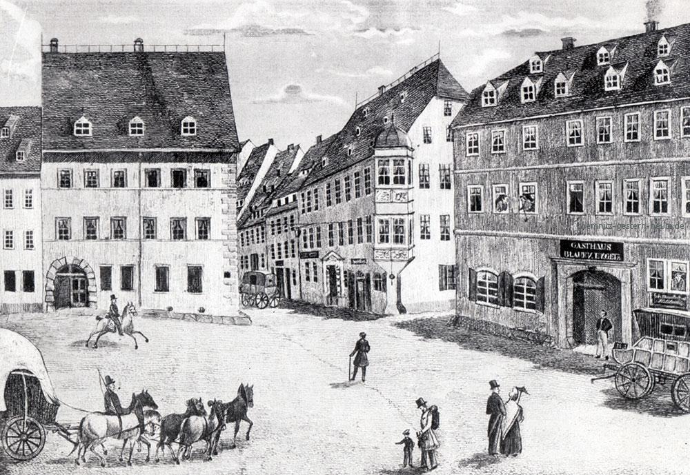 Darstellung des Chemnitzer Marktes mit dem Eckhaus der Adler-Apotheke