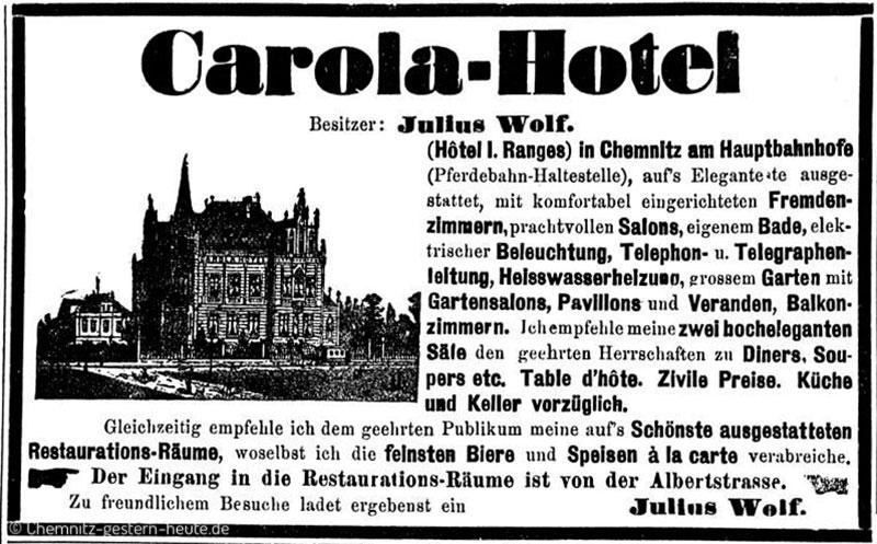 Annonce Eröffnung Carola-Hotel Chemnitz 1885