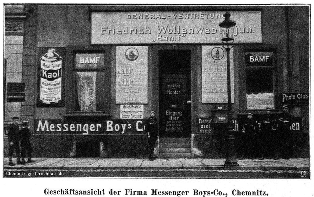 Ansicht einer Filiale der Chemnitzer Messenger-Boys 1910 - Neefestraße 32