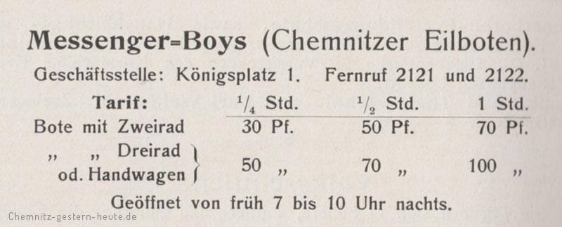 Die Tarife der Messenger Boys 1913