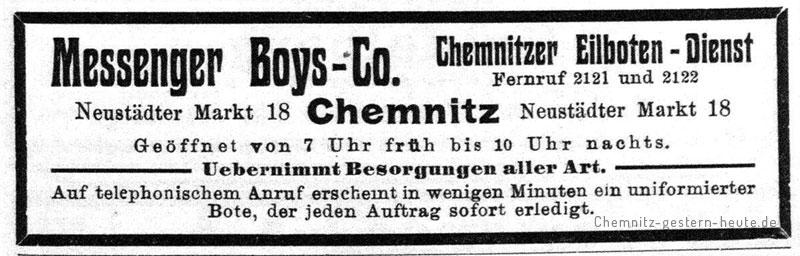 Werbung der Chemnitzer Messenger-Boys 1909