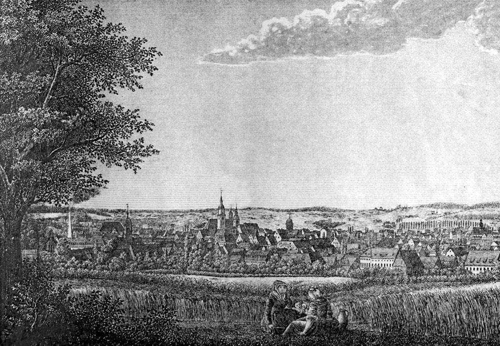 Blick auf Chemnitz um 1800