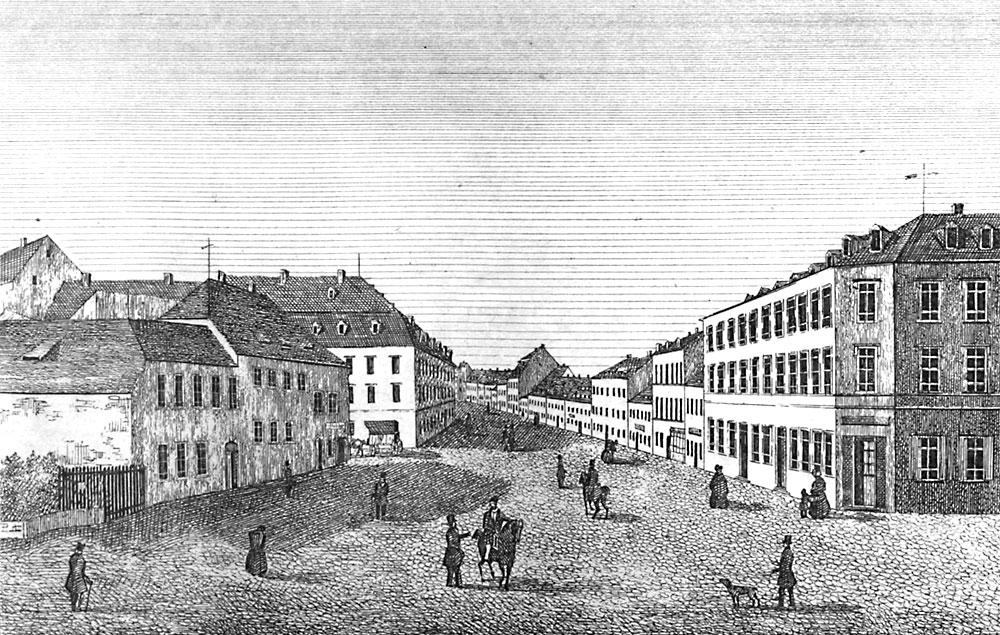 Am ehemaligen Nikolai-Thore, dem Königlichen Posthaus, die Langgasse im alten Chemnitz