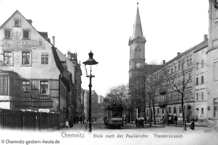 Paulikirche und Theaterstrasse in Chemnitz
