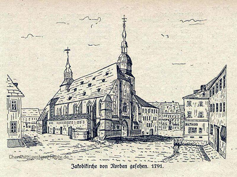 Zeitgenössiches Städtebild von Chemnitz am Ende des 18.Jahrhunderts - die Jacobikirche