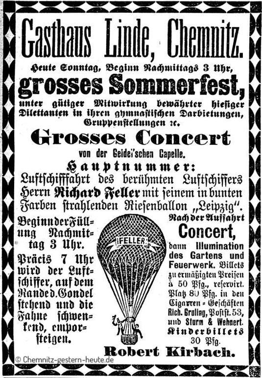 Annonce vom Sommerfest im Gasthaus zur Linde in Chemnitz August 1890