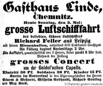 1891 – Ballonstarts in Chemnitz