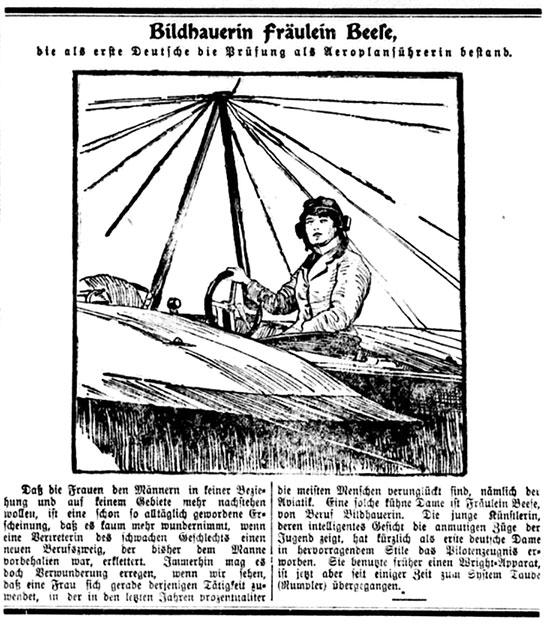 Die erste deutsche Fliegerin Melly Beese