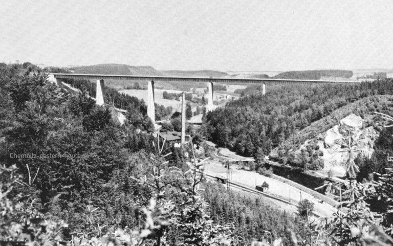 Die Reichsautobahnbrücke bei Siebenlehn um 1938
