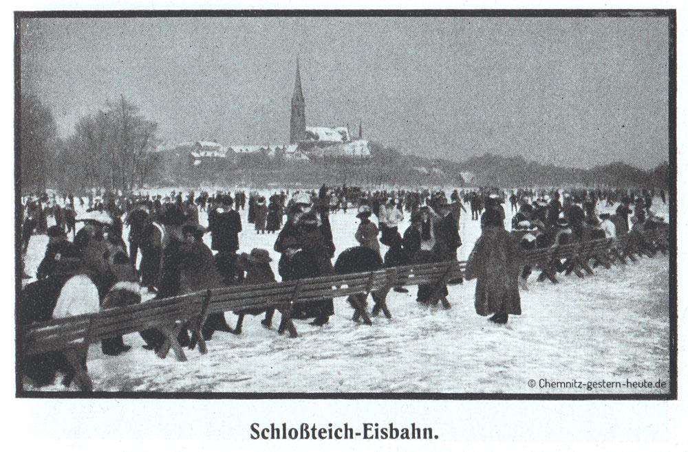Schloßteich-Eisbahn Chemnitz um 1910