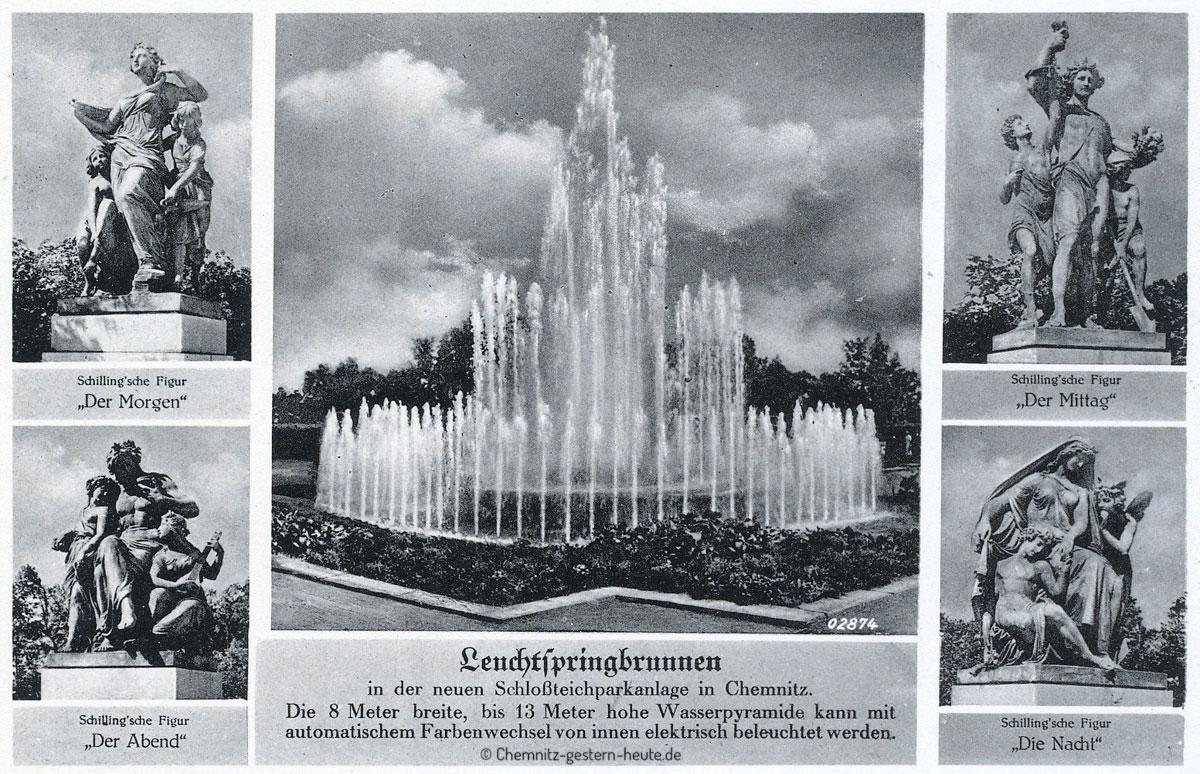 Der Leuchtspringbrunnen in den Chemnitzer Schloßteichanlagen
