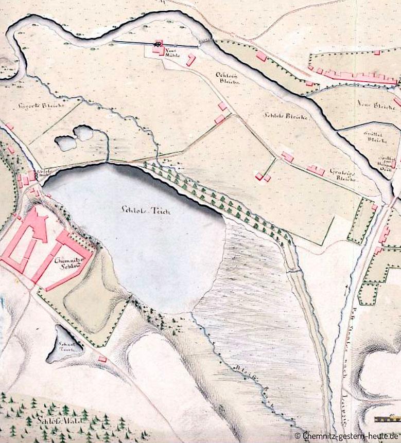 Plan Schloßteich Chemnitz um 1760
