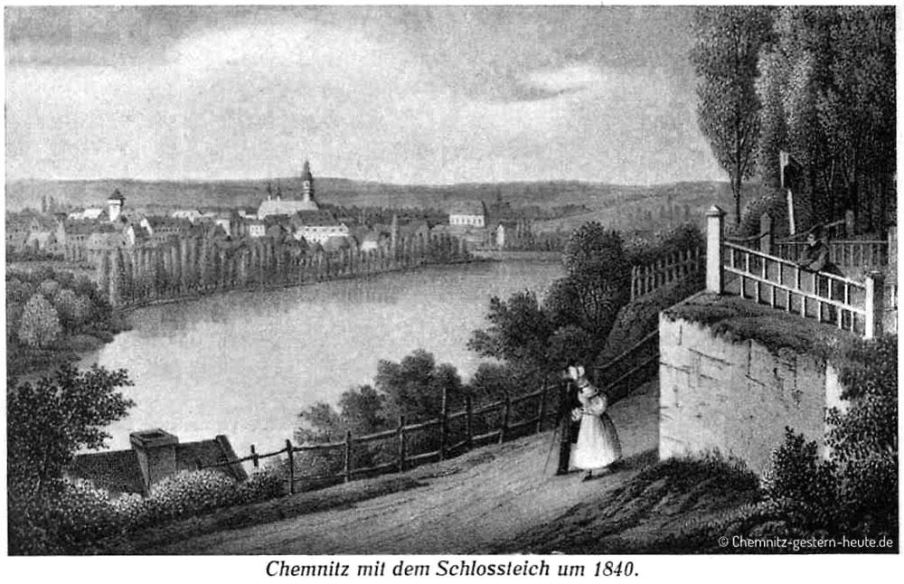 Chemnitz mit dem Schloßteich um 1840