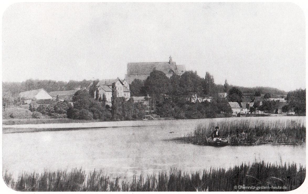 Erste fotografische Aufnahme des Schloßteiches Chemnitz um 1861