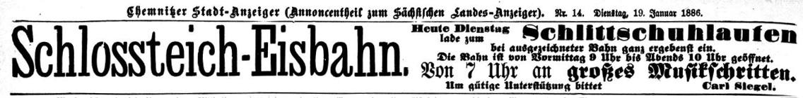 Annonce Schloßteich Eisbahn Chemnitz 1886