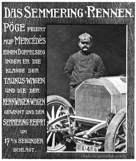 Stolz präsentiert sich Pöge neben seinem Mercedes-Rennwagen