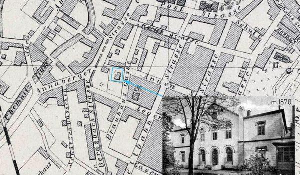 1870 - Plan von Chemnitz mit dem Gebäude der Loge