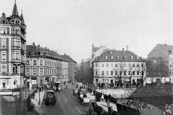 Verkehrsgeschehen 1893 an der Chemnitzer Nikolaibrücke