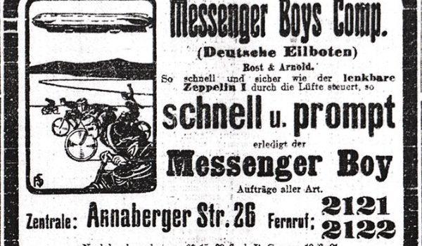 Annonce der Messenger Boys 1909
