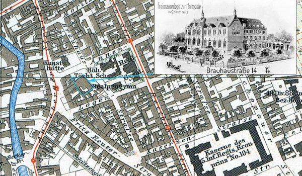 Lageplan 1909 mit dem Gebäude der Loge