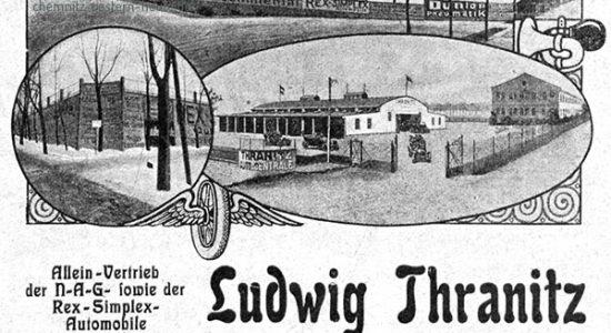 1913 - Annonce aus dem Chemnitzer Kalender mit dem Betriebsgelände und Fahrschulhof Dresdner Str.