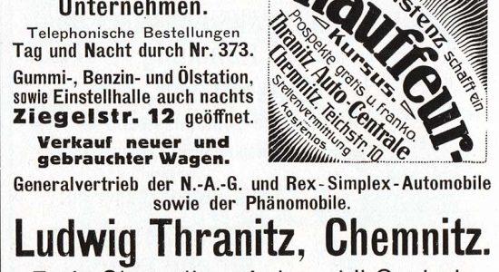 Führer durch Chemnitz 1913 - Annonce für das seinerzeit größte Chemnitzer Droschkenunternehmen