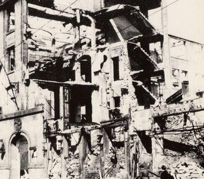 Die Reste nach der Bombardierung