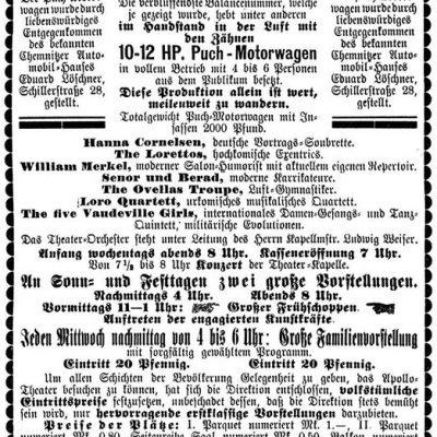Eröffnungsannonce vom 17.8.1907