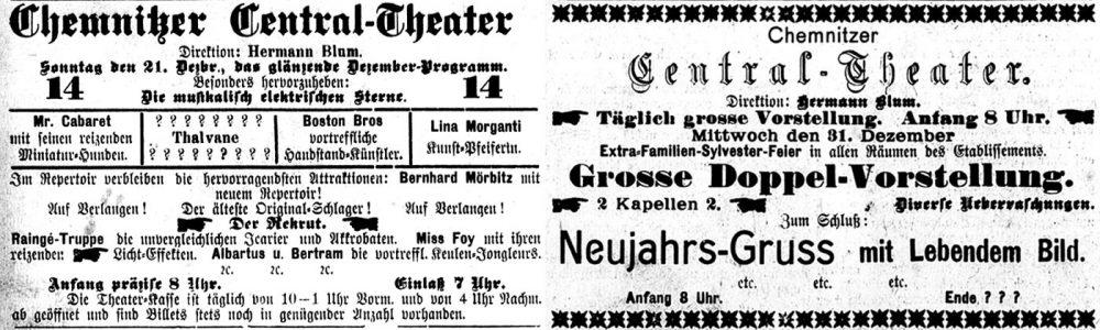 Erste Werbeanzeigen vom Dezember 1902 im Burkhardtsdorfer Anzeiger