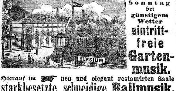 Annonce um 1885 - der Garten war zur damaligen Zeit beliebt