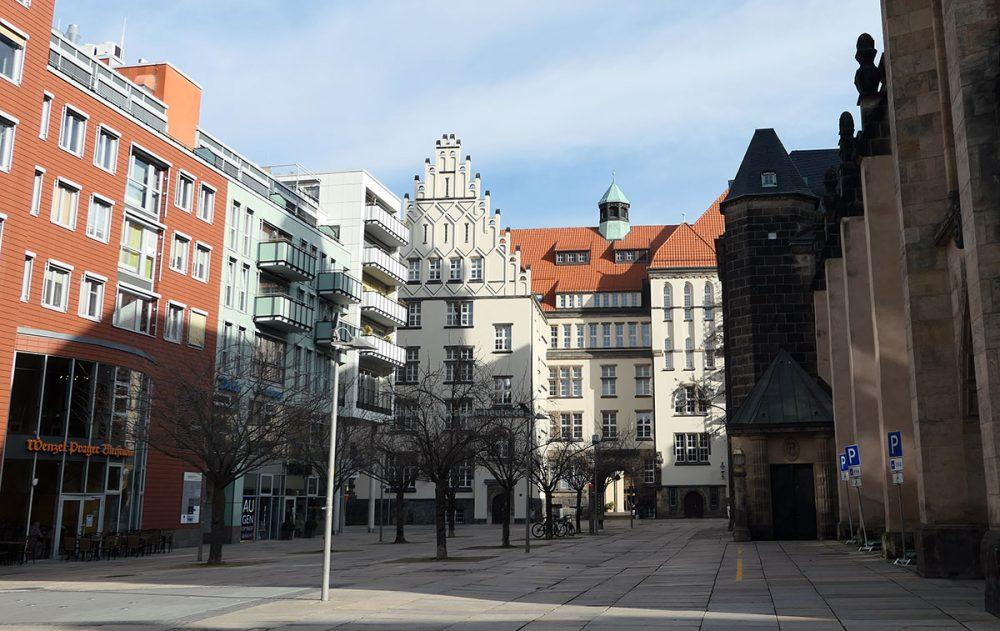 Der Chemnitzer Jacobikirchplatz im Februar 2020