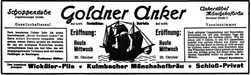Eröffnungsanzeige 1936