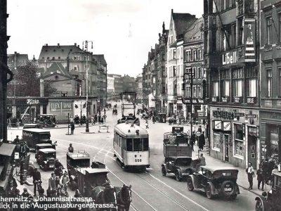 """Um 1933 - Blick von der Äußeren Johannisstraße Richtung Augustusburger Str. In der Mitte links der """"Goldne Anker"""""""