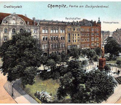 Beckerplatz mit Denkmal - gegenüber das Reichskaffee
