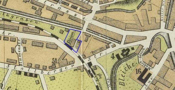 Stadtplan 1886 - heutiger Standort Nikolaibahnhof