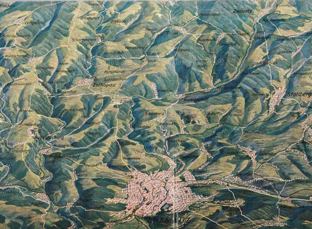 Ausschnitt aus einer Profilkarte des Erzgebirges um 1930